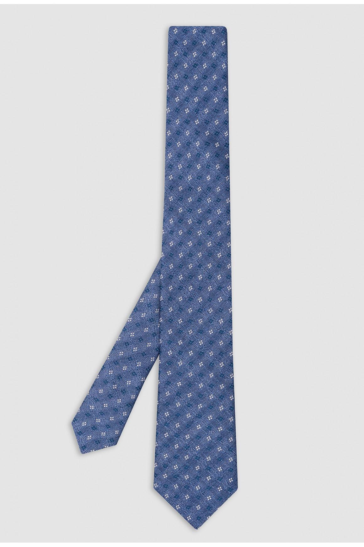 Cravate Denim Micromotif Soie