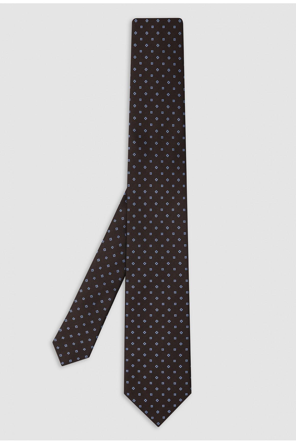 Cravate Marron Micromotif Soie