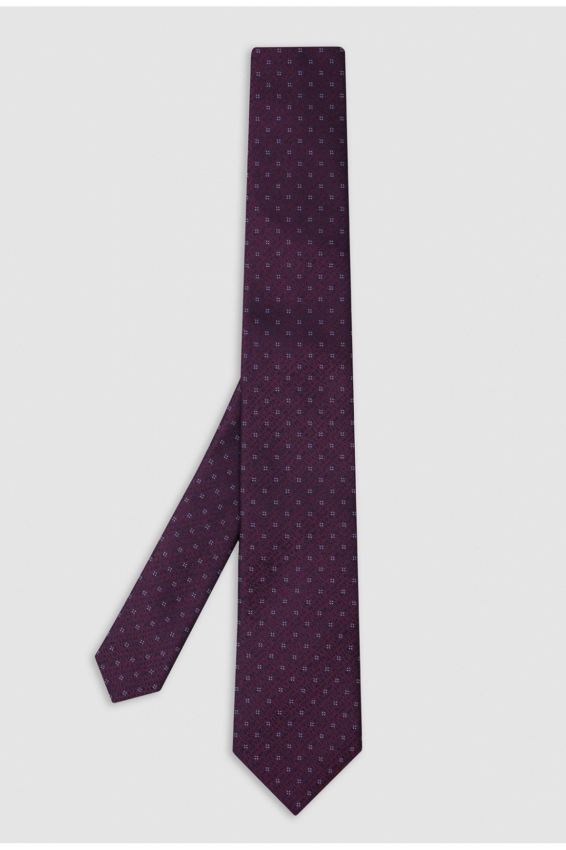 Cravate Prune Micromotif Soie