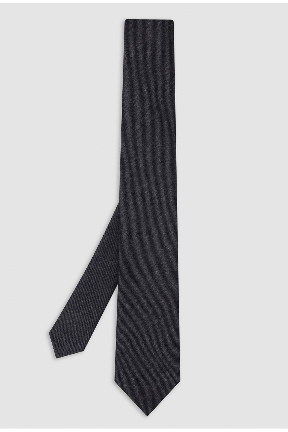 Cravate Anthracite Laine Et...