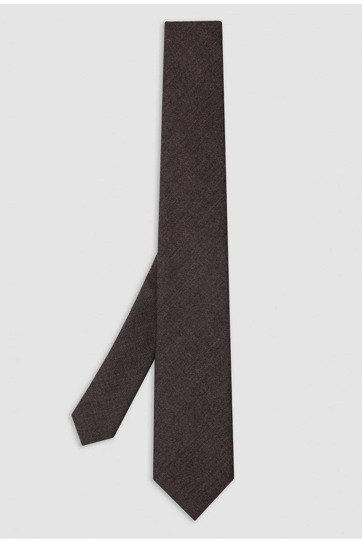 Cravate Marron Laine Et Soie