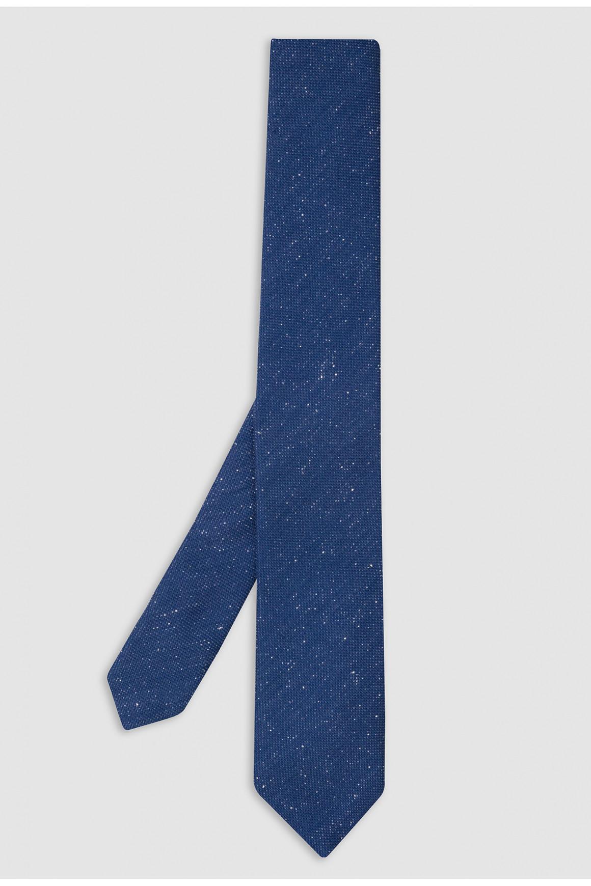 Cravate Bleu Laine Et Soie