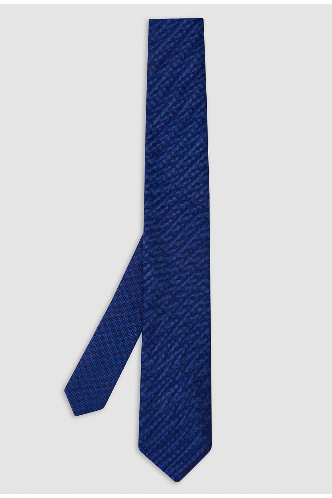 Cravate Bleu Soie Et Cachemire