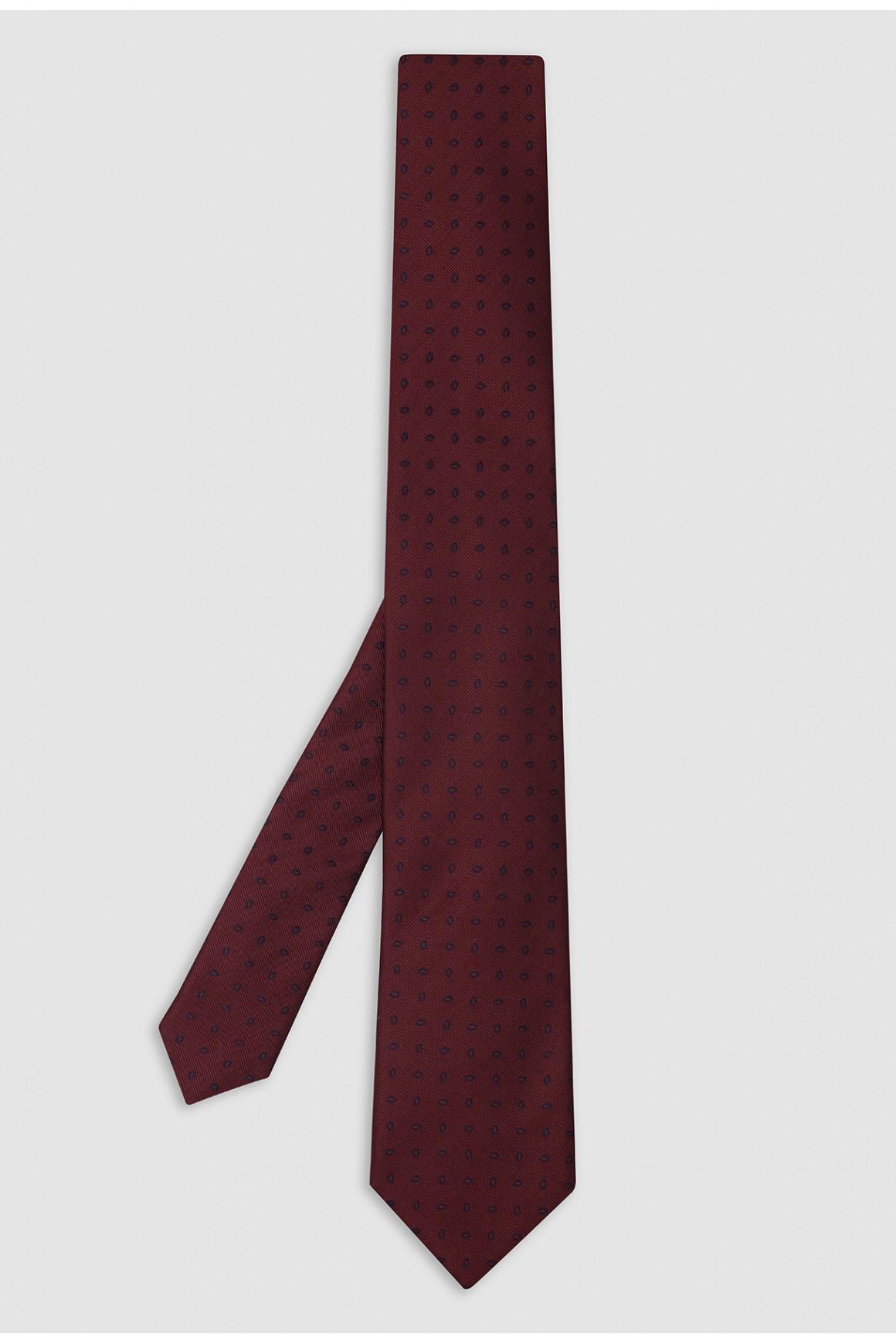 Cravate Rouge Micromotif Soie