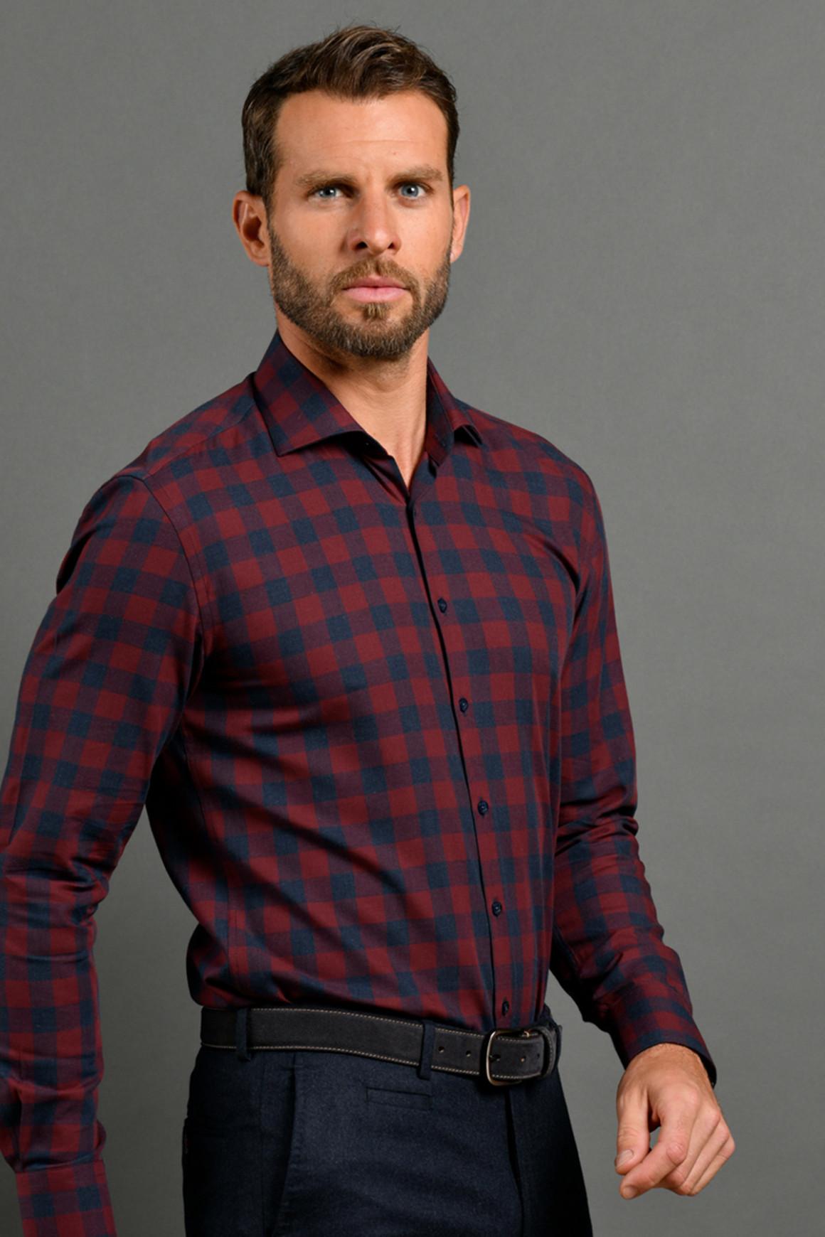 Chemise bicolore à grand...