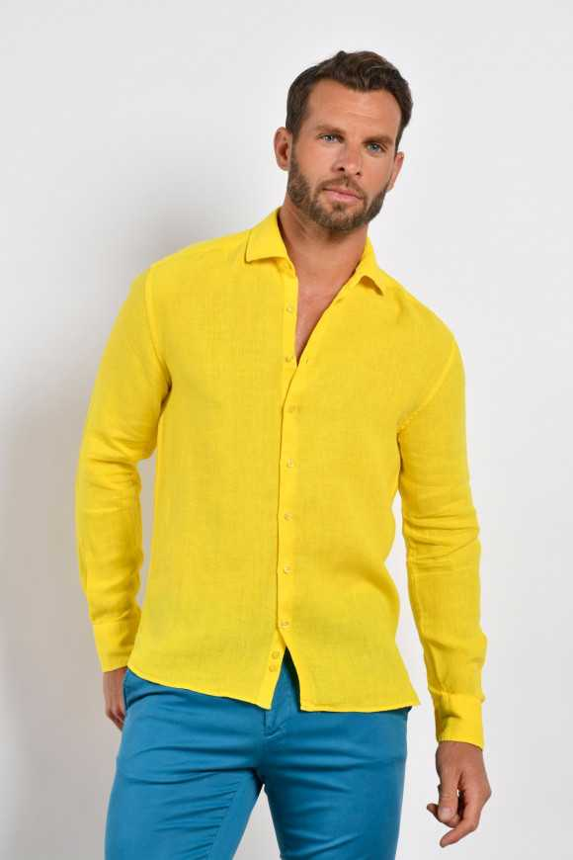 Chemise en lin uni jaune