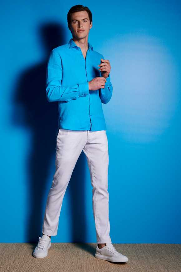 CHEMISE LIN TURQUOISE