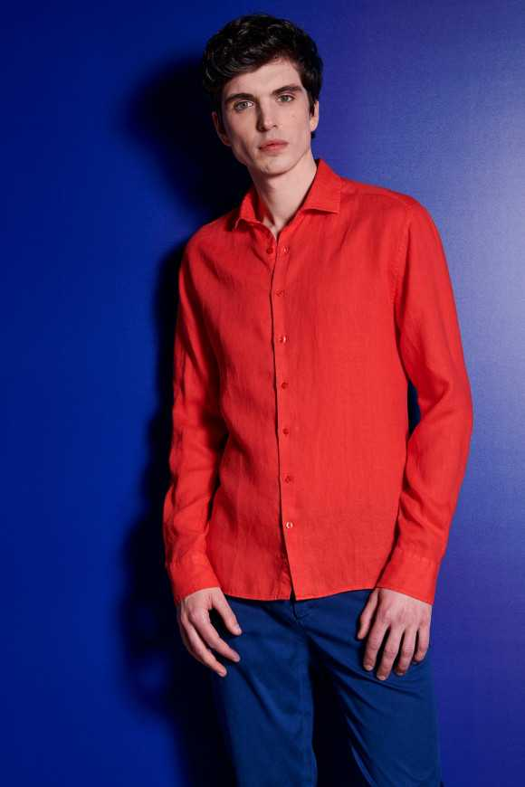 CHEMISE LIN ROUGE